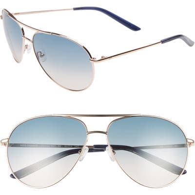 Nike Chance 61Mm Aviator Sunglasses - Rose Gold/ Navy Gradient