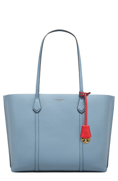 Tory Burch Leathers PERRY LEATHER TOTE - BLUE