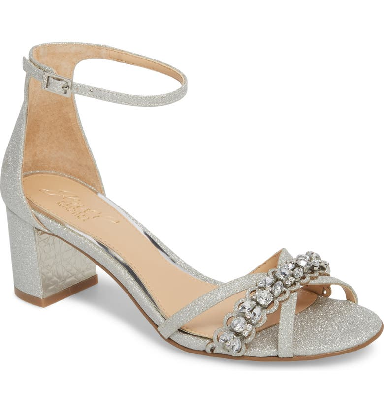 JEWEL BADGLEY MISCHKA Giona Sandal, Main, color, SILVER GLITTER FABRIC