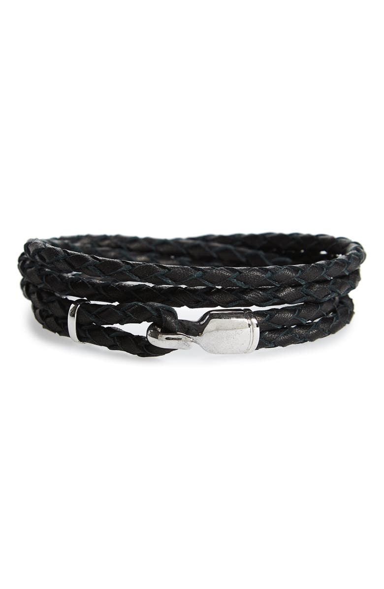 MIANSAI Trice Braided Leather & Sterling Silver Bracelet, Main, color, BLACK