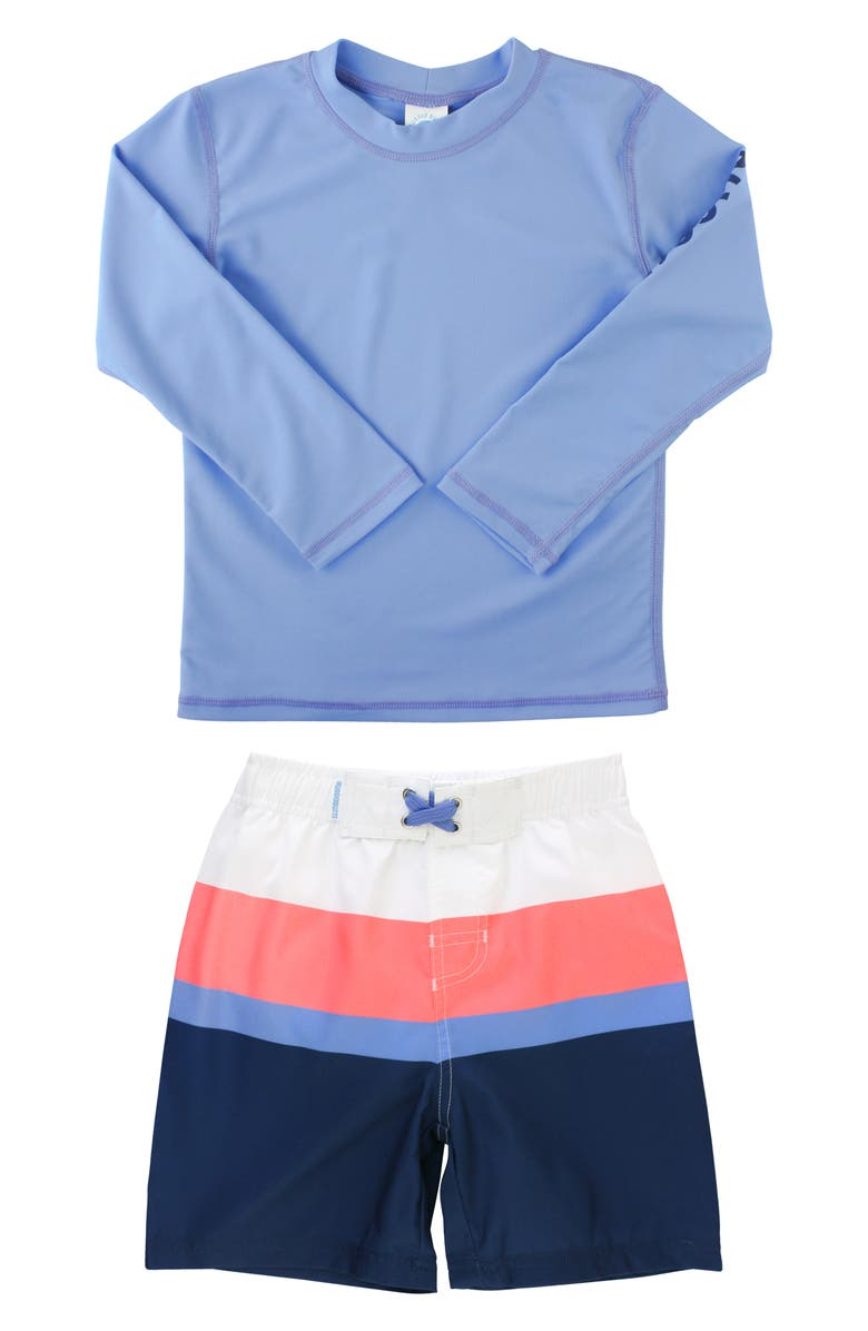 RUGGEDBUTTS Colorblock Two-Piece Rashguard Swimsuit, Main, color, BLUE