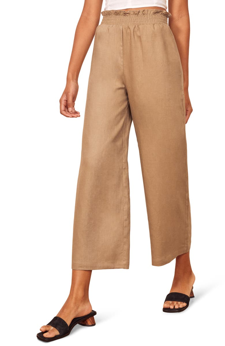 REFORMATION Calabria High Waist Crop Wide Leg Linen Pants, Main, color, KHAKI