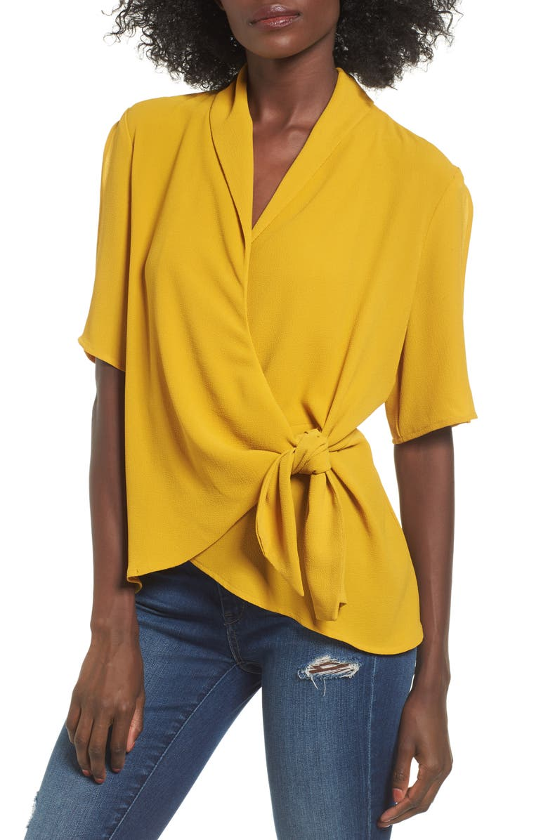 LEITH Tie Front Wrap Top, Main, color, 315