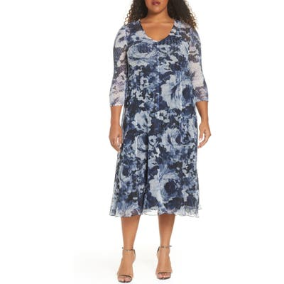 Plus Size Komarov Chiffon A-Line Midi Dress, Blue