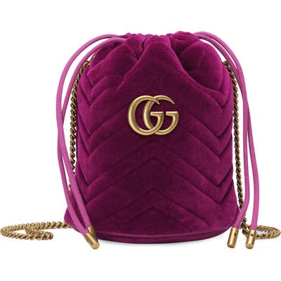 Gucci Mini Gg Marmont 2.0 Quilted Velvet Bucket Bag - Pink