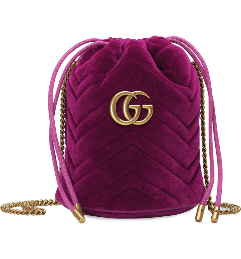 GUCCI Mini GG Marmont 2.0 Quilted Velvet Bucket Bag, Main, color, FUXIA/ VIOLIET/ FUXIA