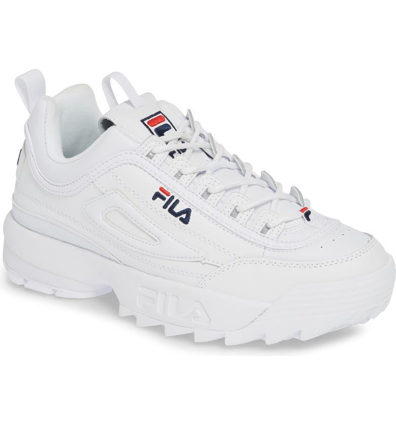FILA Disruptor II Premium Sneaker, Main, color, WHITE/ NAVY/ FILA RED