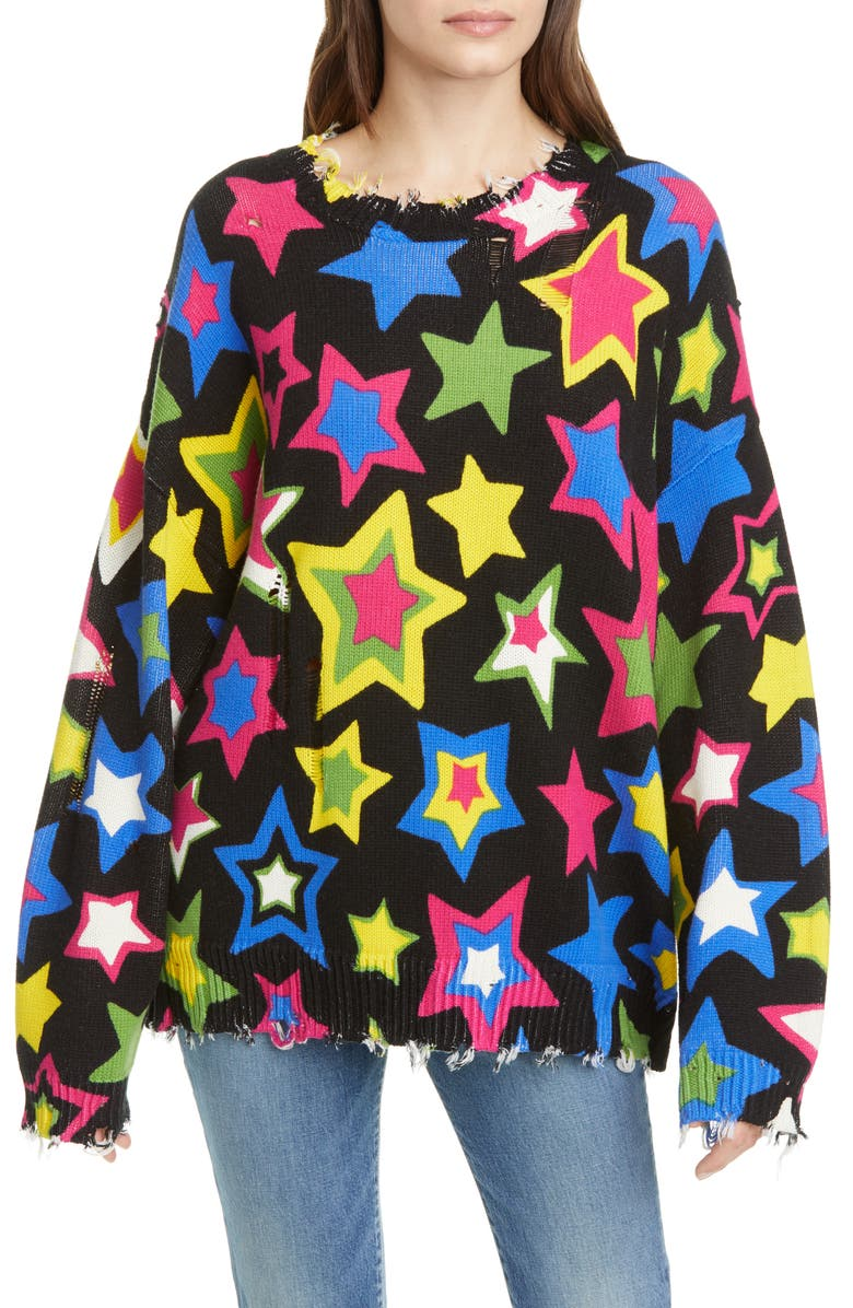 R13 Stars Oversize Ripped Cotton Sweater, Main, color, MULTI STARS