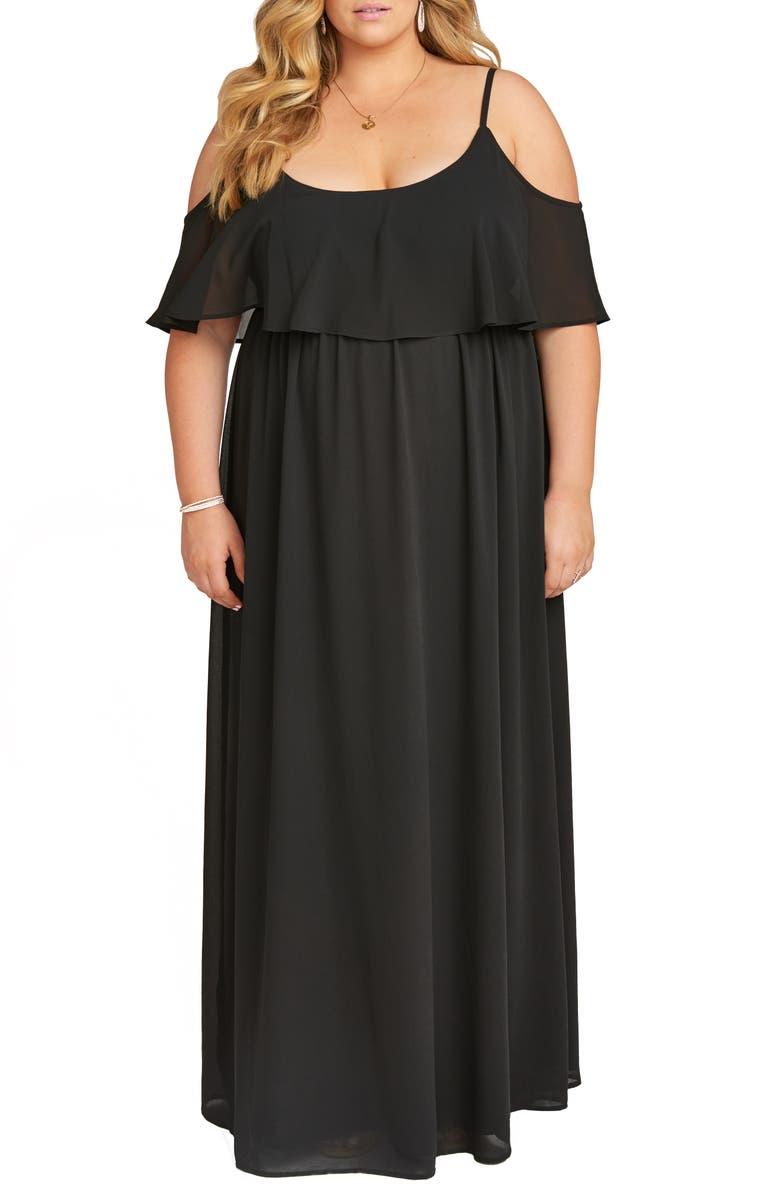 SHOW ME YOUR MUMU Caitlin Ruffle Cold Shoulder Evening Dress, Main, color, BLACK CHIFFON