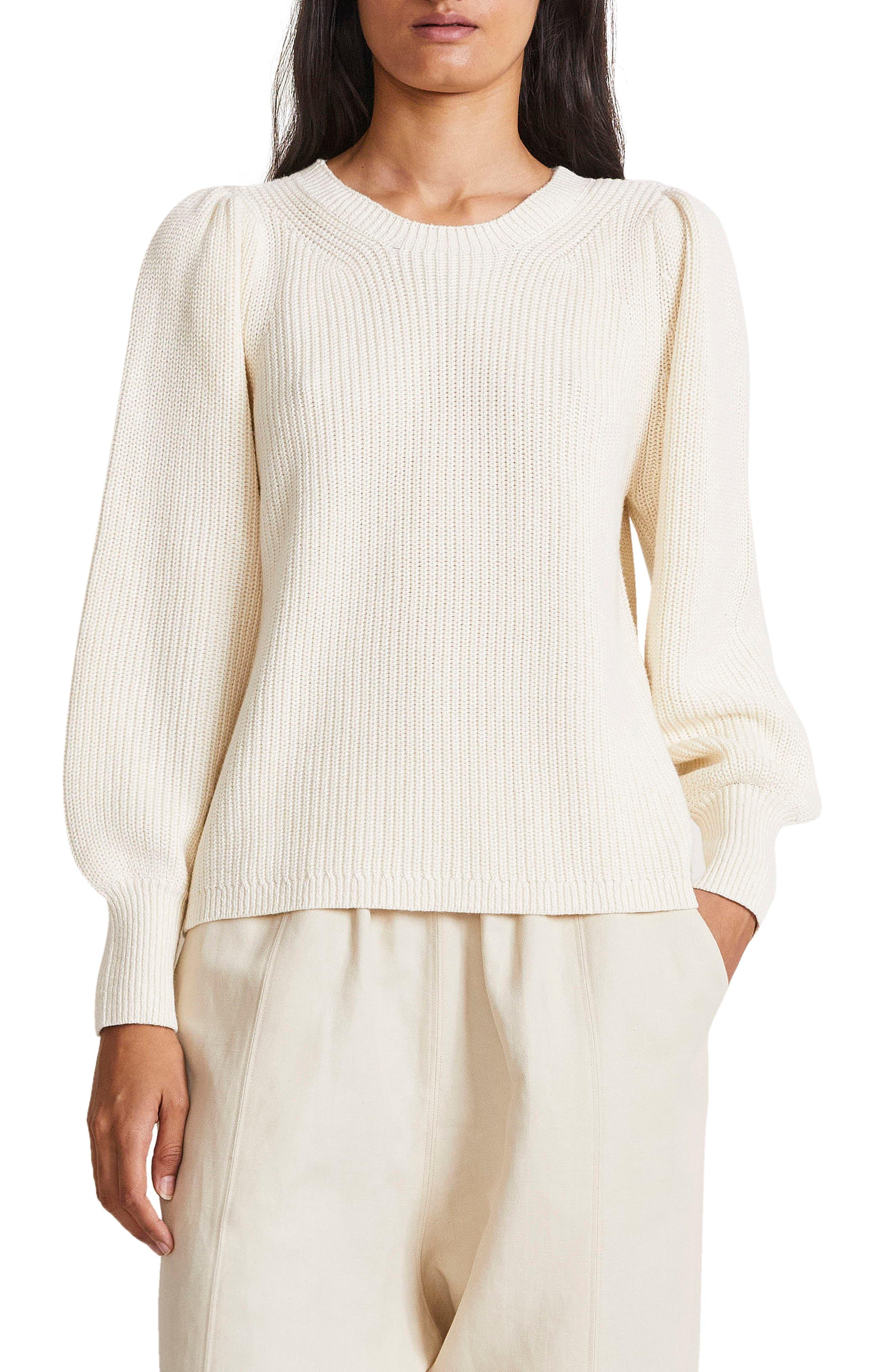 Balloon Sleeve Organic Cotton & Cashmere Sweater