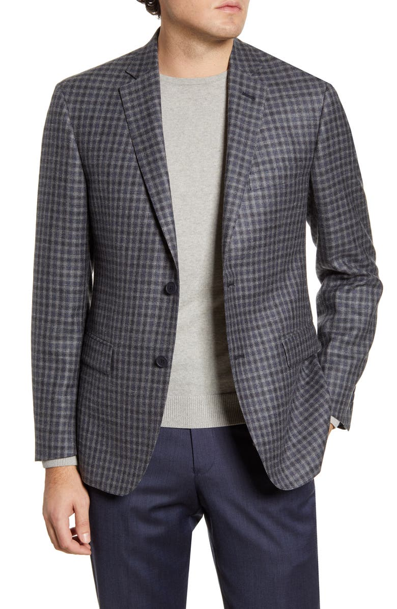JOHN W. NORDSTROM<SUP>®</SUP> Traditional Fit Check Wool Blend Sport Coat, Main, color, BLACK COAL GREY CHECK