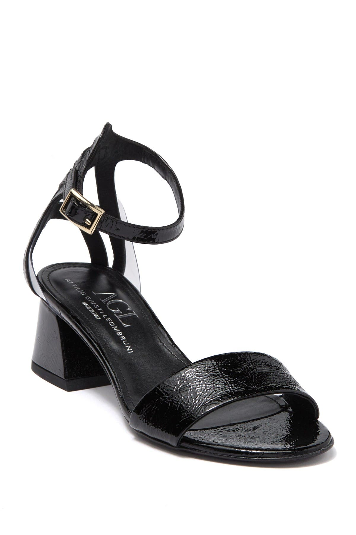 Image of AGL Patent Leather Block Heel Sandal