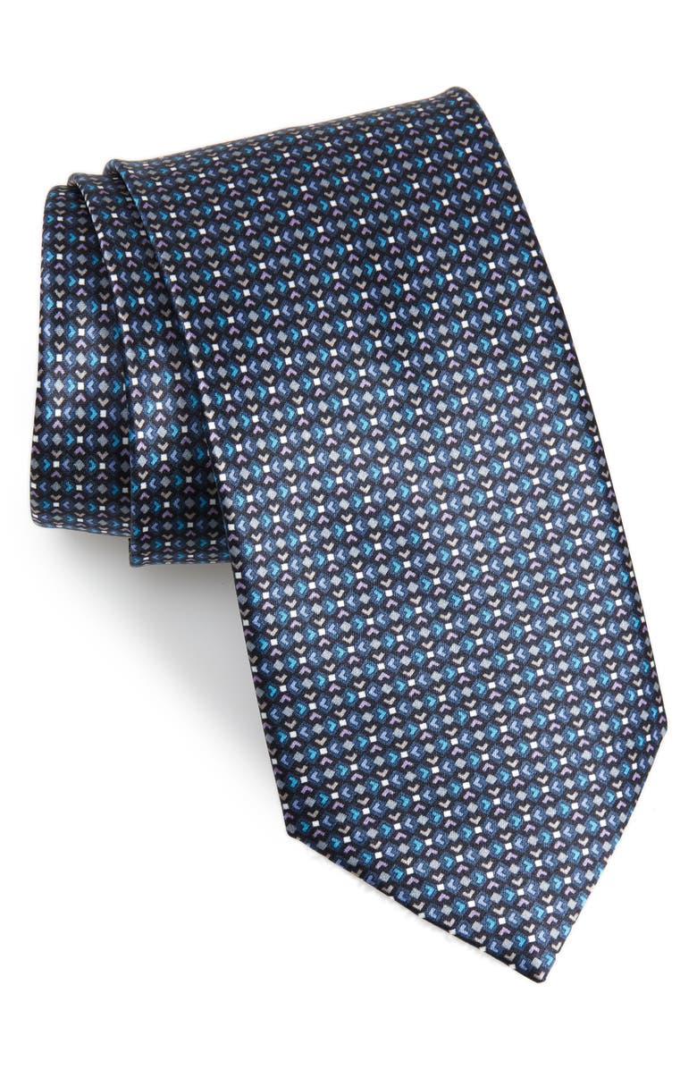 BRIONI Geometric Silk Tie, Main, color, BLUE