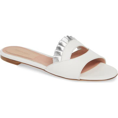Dahlia Selva Gulity Pleat Slide Sandal, White