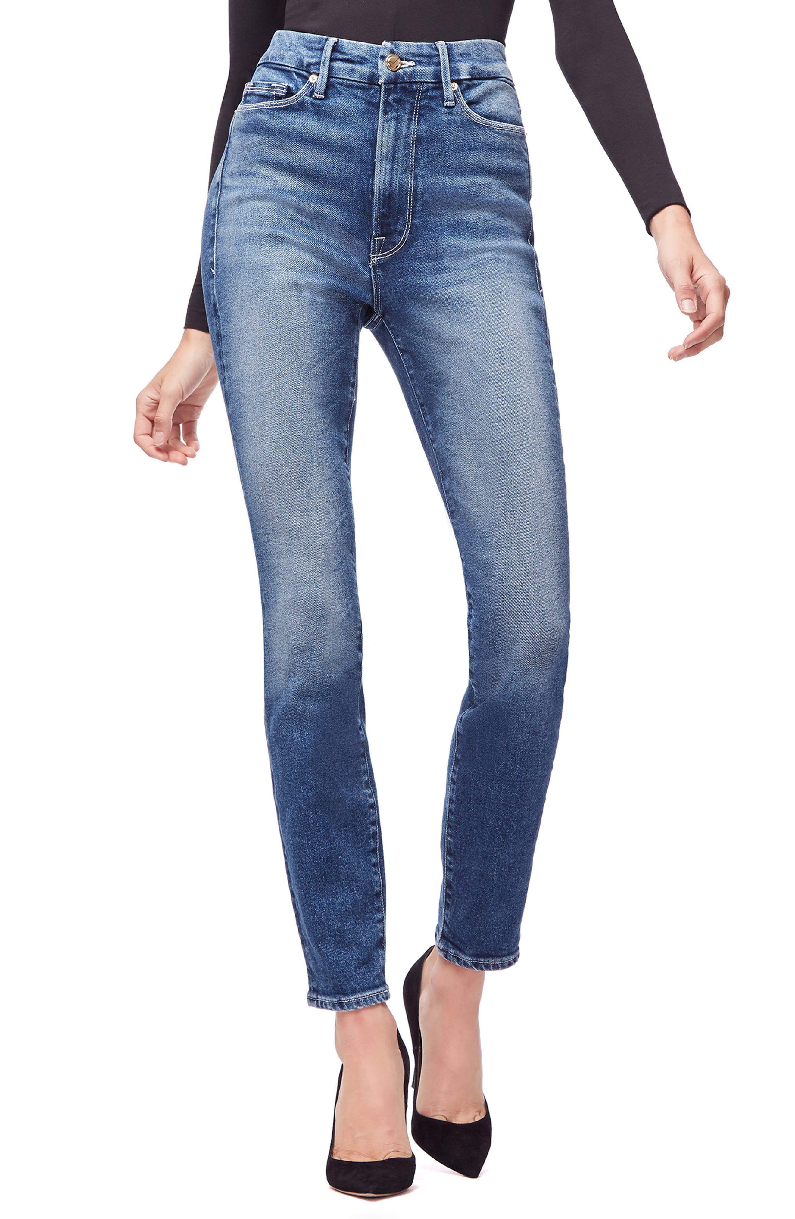 Good American Good Curvy High Waist Skinny Jeans (Blue 190) (Regular & Plus Size)