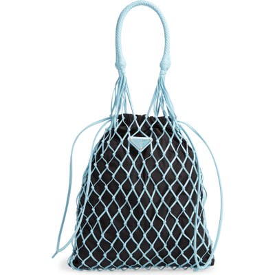 Prada Rete Top Handle Lambskin Drawstring Bag - Blue