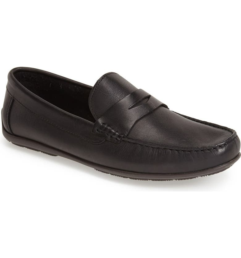SANDRO MOSCOLONI 'Paris' Leather Penny Loafer, Main, color, BLACK