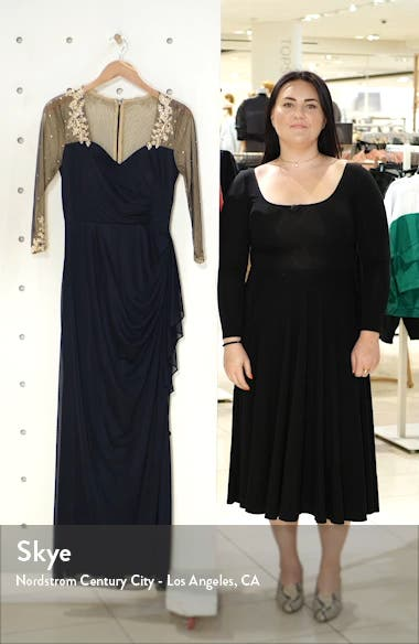 Embellished Illusion Sleeve Ruched Gown, sales video thumbnail