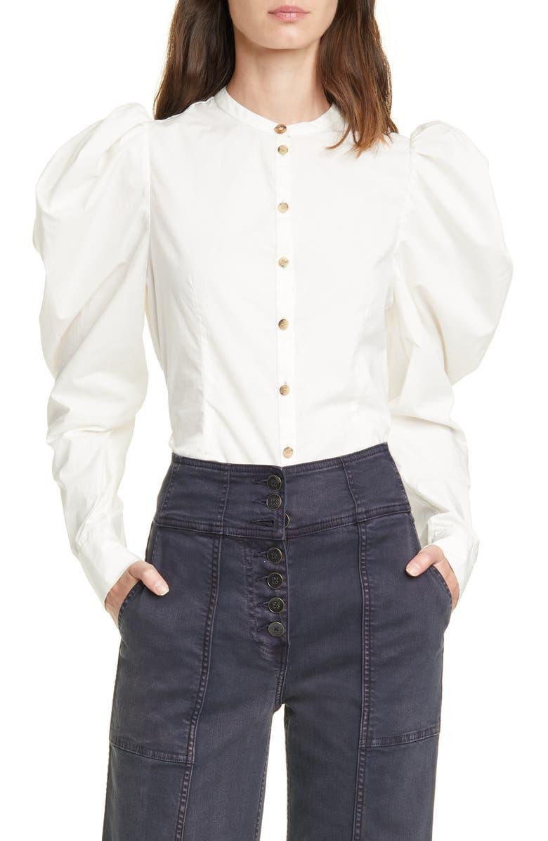 ULLA JOHNSON Willa Puff Sleeve Cotton Blouse, Main, color, BLANC