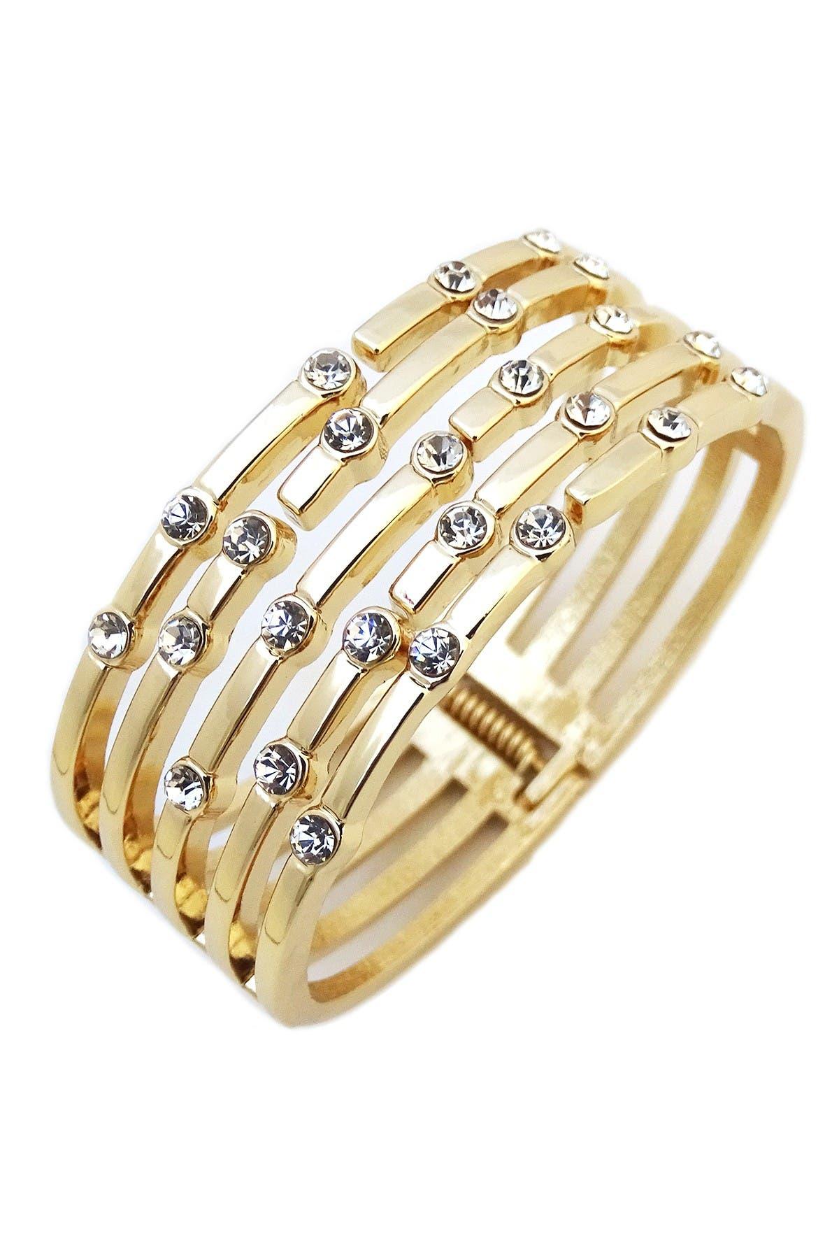 Image of Savvy Cie 18K Yellow Gold Plated Bezel Set CZ Hinged Cuff Bracelet