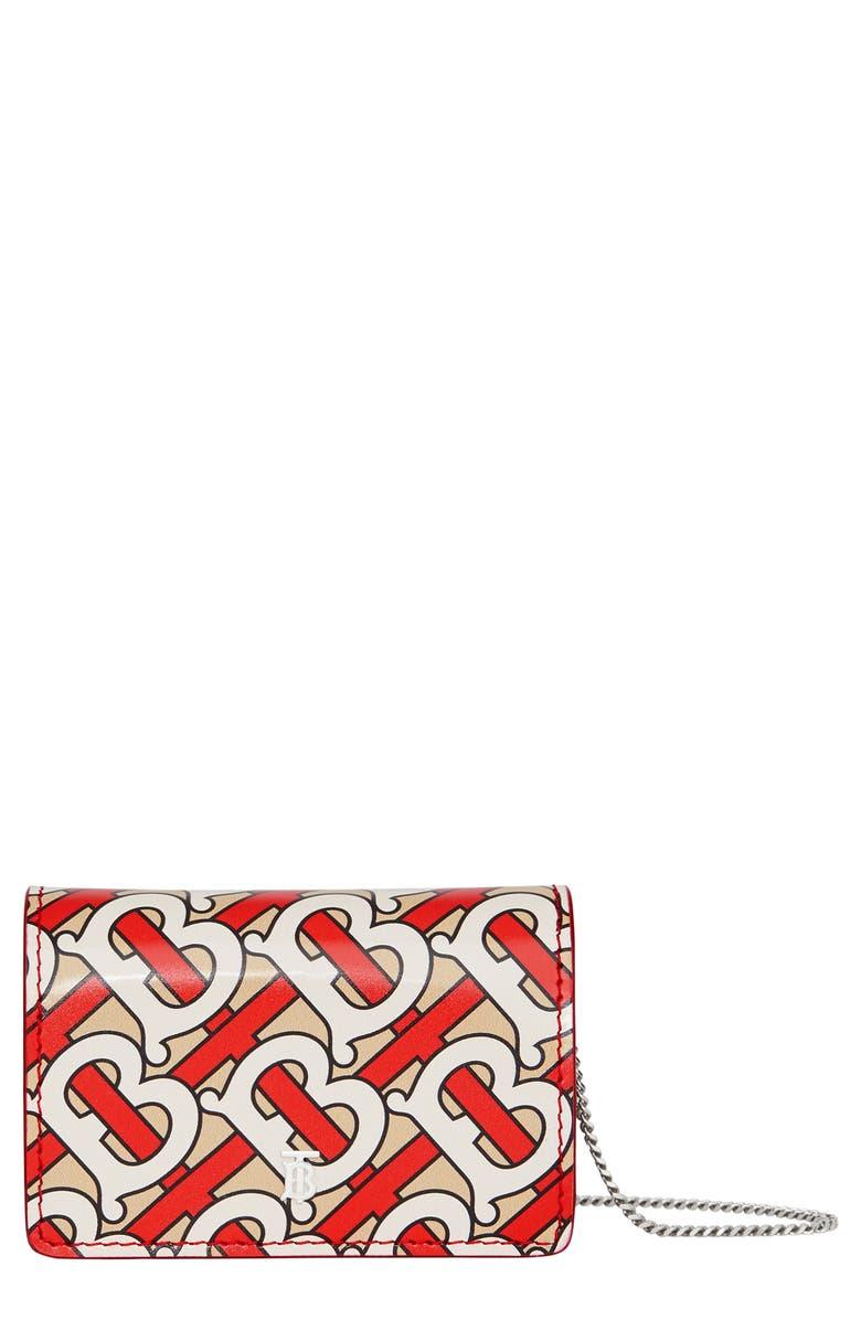 BURBERRY Jessie TB Monogram Print Card Case, Main, color, VERMILLION