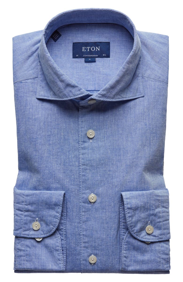 ETON Soft Collection Contemporary Fit Solid Cotton & Linen Dress Shirt, Main, color, BLUE