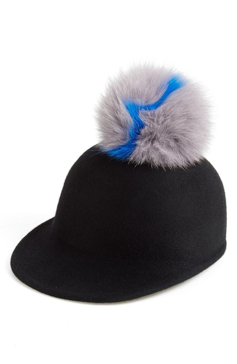 EUGENIA KIM 'Bo' Genuine Fox Fur Pom Cap, Main, color, 001