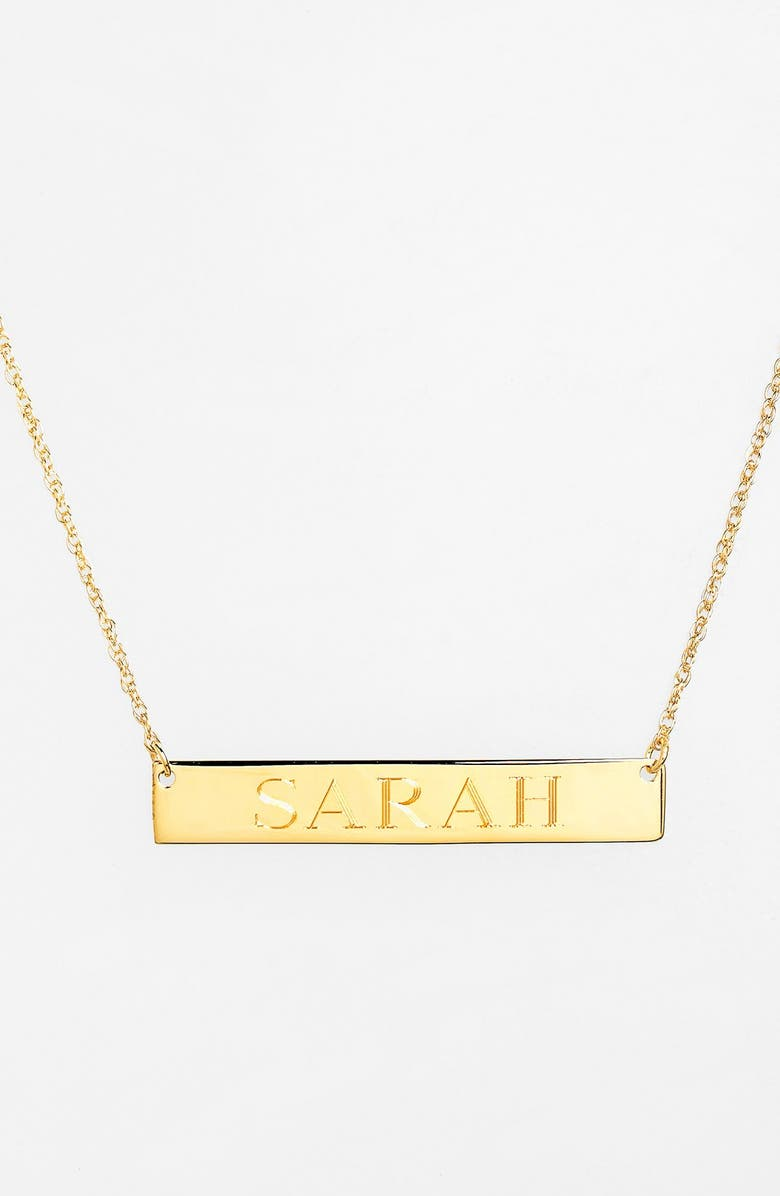 JANE BASCH DESIGNS Personalized Bar Pendant Necklace, Main, color, GOLD