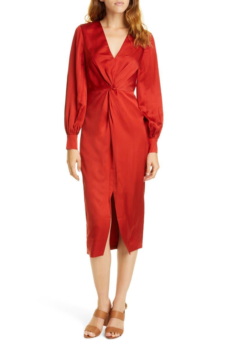 TED BAKER LONDON Penalo Twist Detail Long Sleeve Satin Dress, Main, color, 610