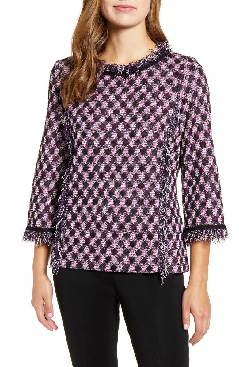MING WANG Fringe Trim Tunic Sweater, Main, color, 659