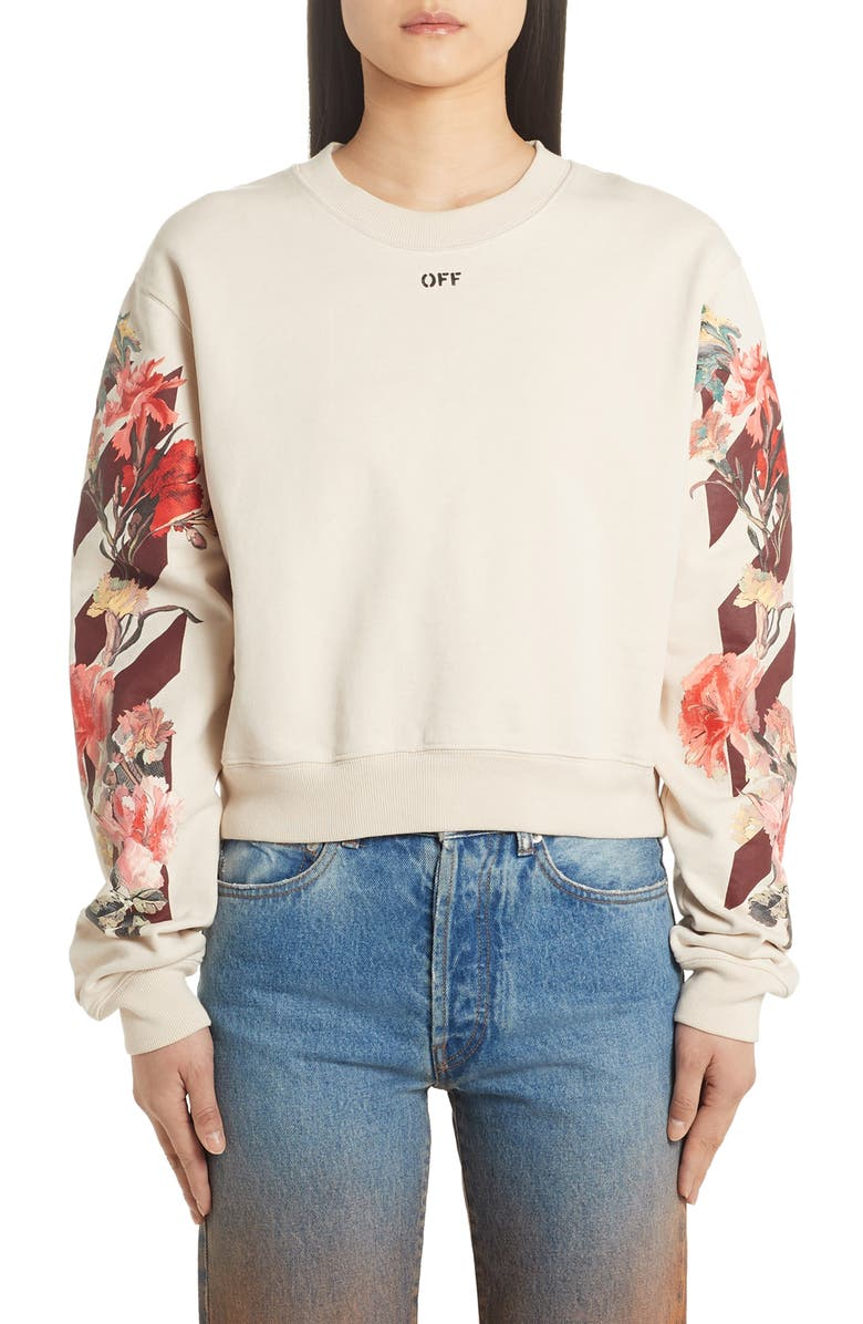 OFF-WHITE Flowers Carryover Crop Crewneck Sweatshirt, Main, color, WHITE BORDEAUX
