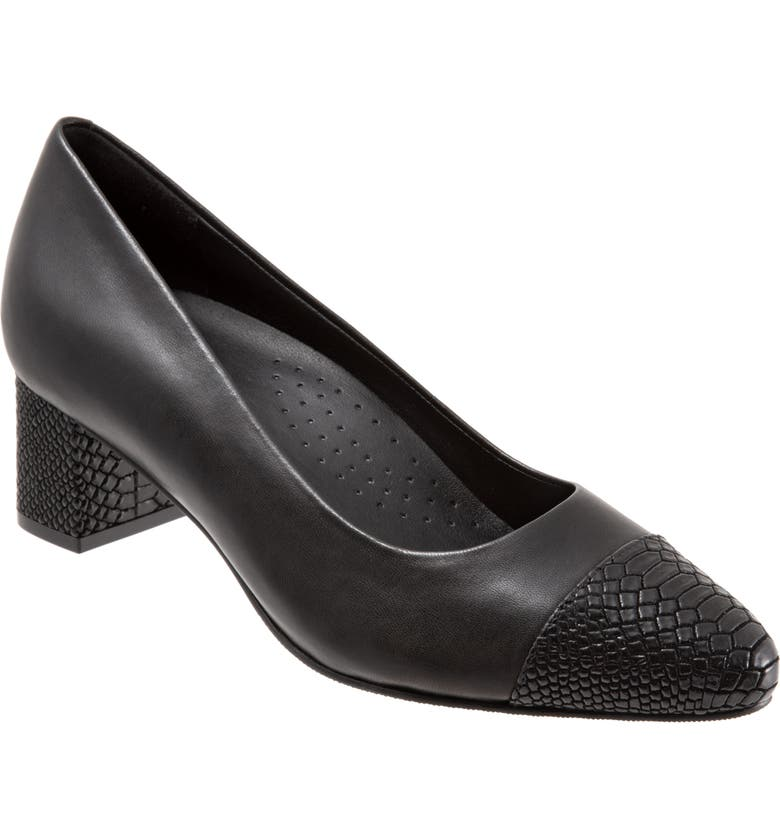 TROTTERS Kiki Pump, Main, color, BLACK LEATHER