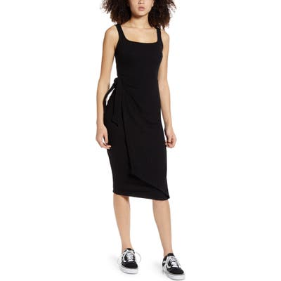 All In Favor Ribbed Tie Waist Tank Dress, Black