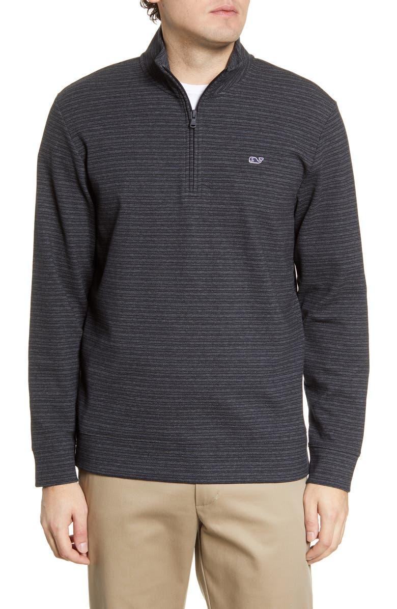 VINEYARD VINES Saltwater Regular Fit Stripe Half Zip Performance Pullover, Main, color, BLACK HEATHER