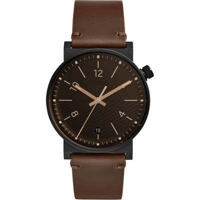 Fossil Barstow Leather Strap Watch, 42Mm