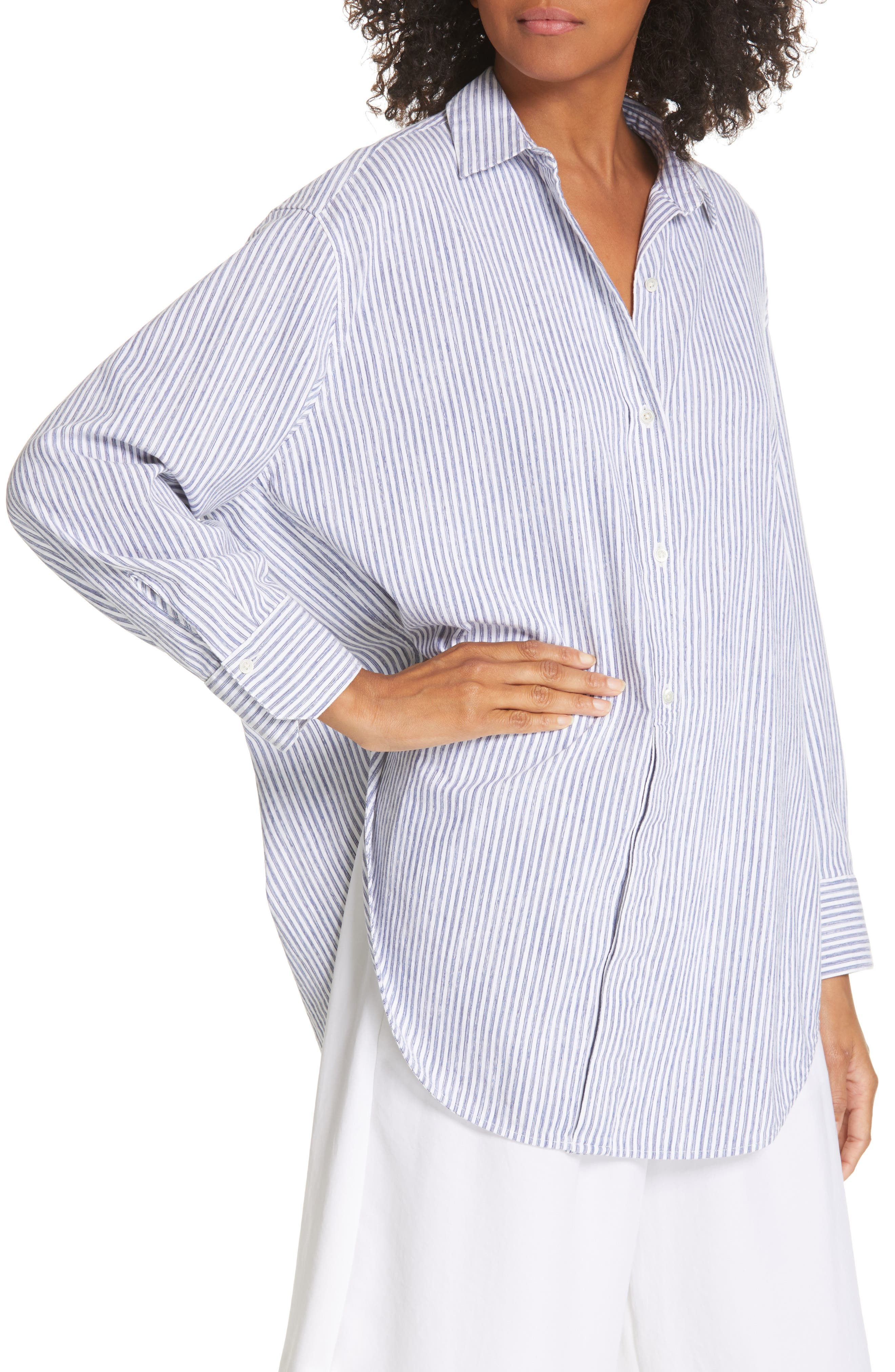 ,                             Stripe Oversize Cotton Blend Blouse,                             Alternate thumbnail 4, color,                             INDIGO