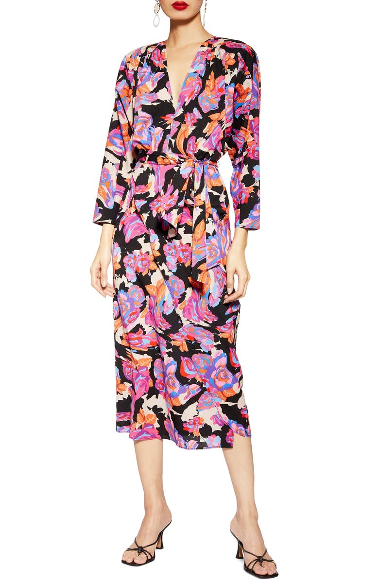 TOPSHOP Belted V-Neck Long Sleeve Midi Dress, Main, color, PURPLE MULTI