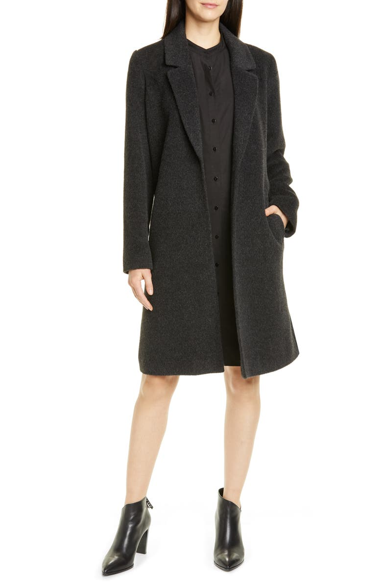 EILEEN FISHER Alpaca & Wool Blend Coat, Main, color, 021
