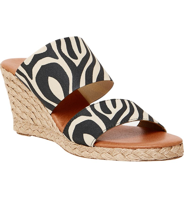 ANDRÉ ASSOUS Amalia Strappy Espadrille Wedge Slide Sandal, Main, color, ZEBRA FABRIC
