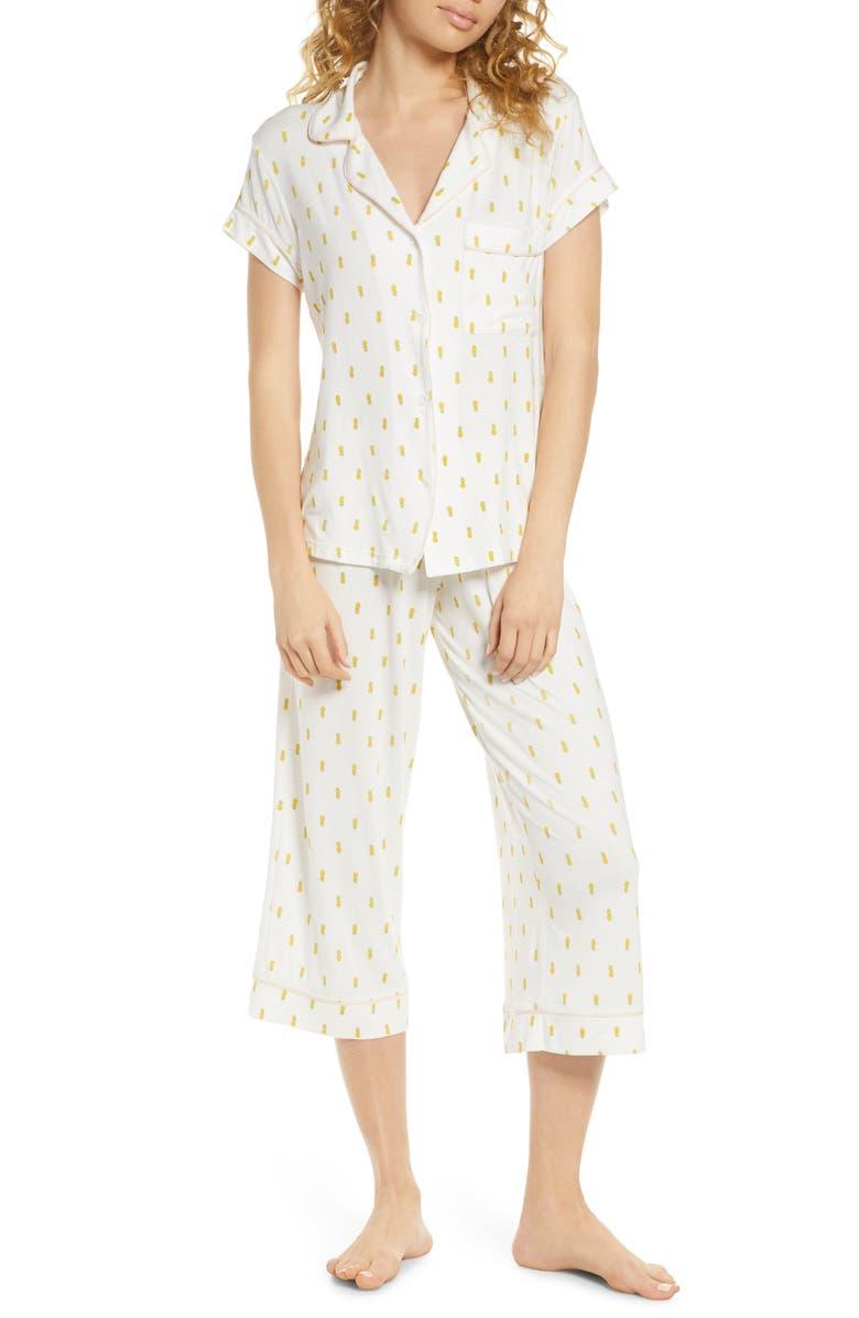 EBERJEY Giving Pineapple Print Cropped Pajamas, Main, color, PINEAPPLE/ BELLINI