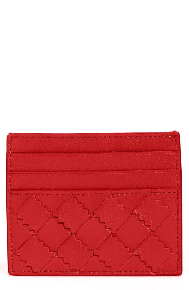 BOTTEGA VENETA Intrecciato Leather Card Case, Main, color, NAIL POLISH