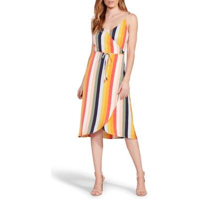 Cupcakes And Cashmere Stella Stripe Wrap Midi Dress, Yellow