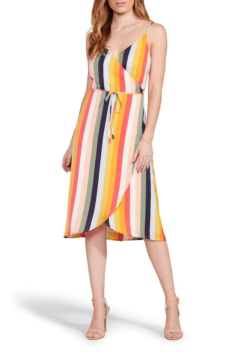 CUPCAKES AND CASHMERE Stella Stripe Wrap Midi Dress, Main, color, MULTI