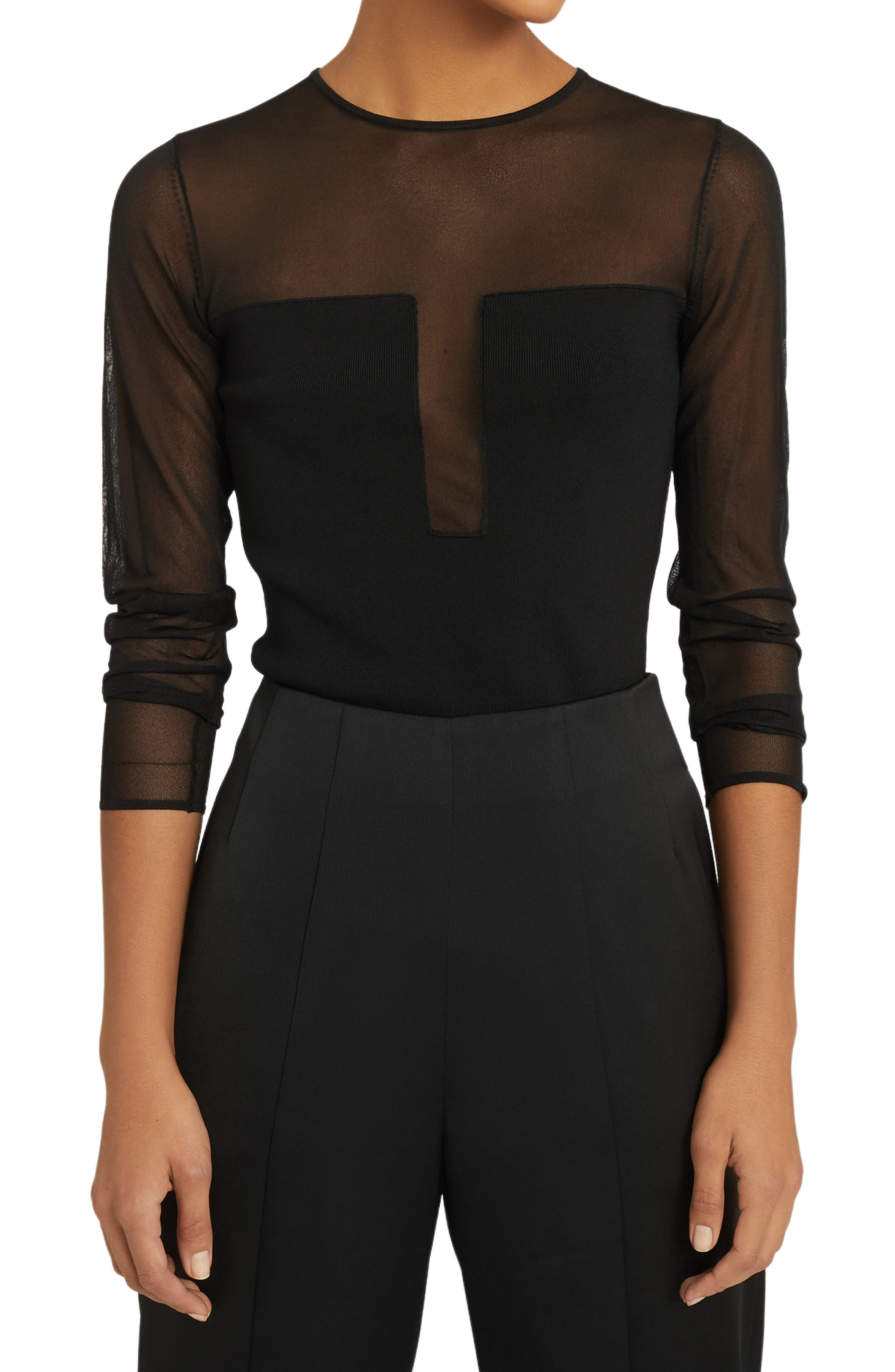 Reiss Lily Sheer Mix Media Top In Black