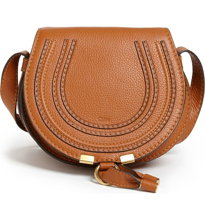 CHLOÉ 'Mini Marcie' Leather Crossbody Bag, Main, color, TAN GOLD HRDWRE