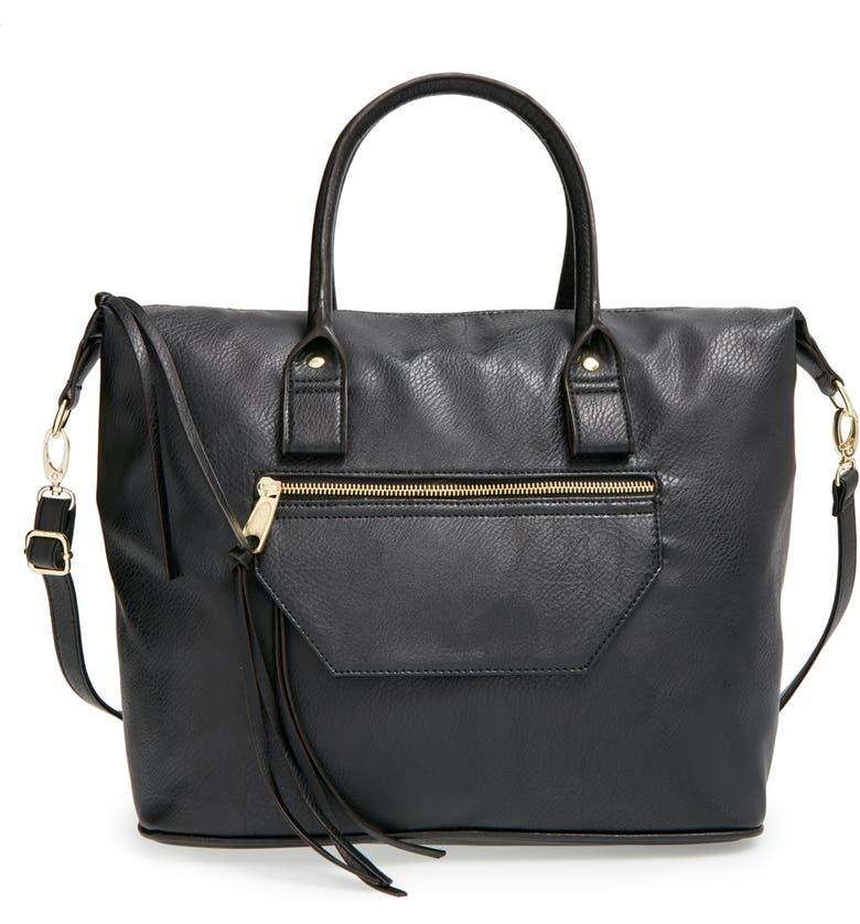 BP. Faux Leather Satchel, Main, color, 001
