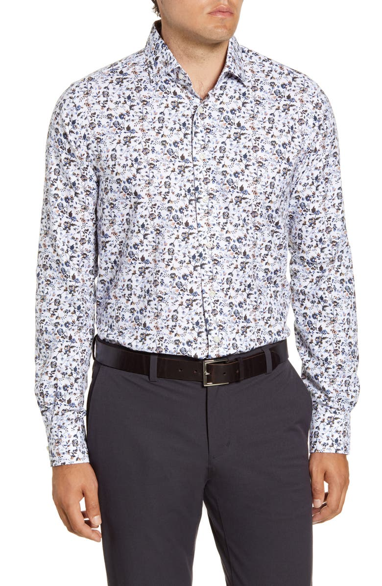EMANUEL BERG Regular Fit Floral Button-Up Oxford Shirt, Main, color, WHITE
