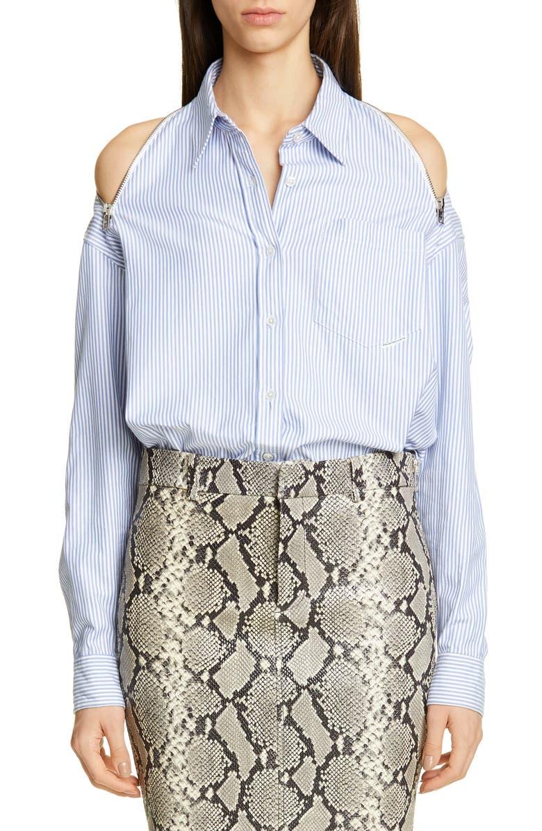 ALEXANDER WANG Zip Cold Shoulder Shirt, Main, color, 400