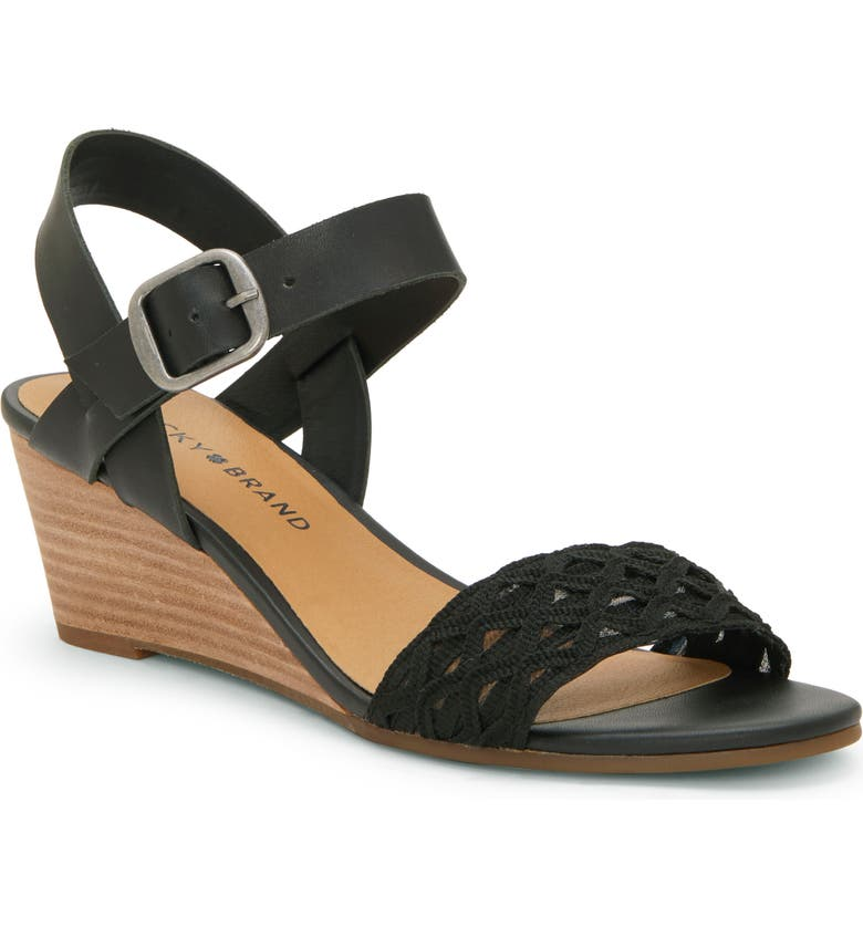 LUCKY BRAND Jaliena Wedge Sandal, Main, color, BLACK LEATHER