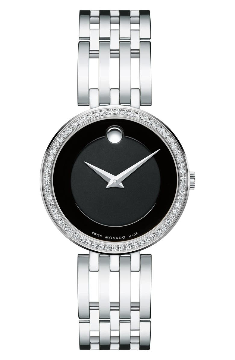 Movado Esperanza Diamond Bezel Bracelet Watch 28mm